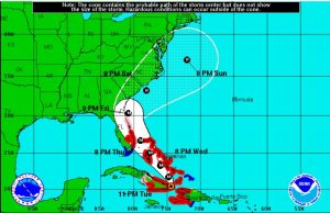 The projected path of Hurricane Matthew as of 11 p.m. ET Tuesday evening