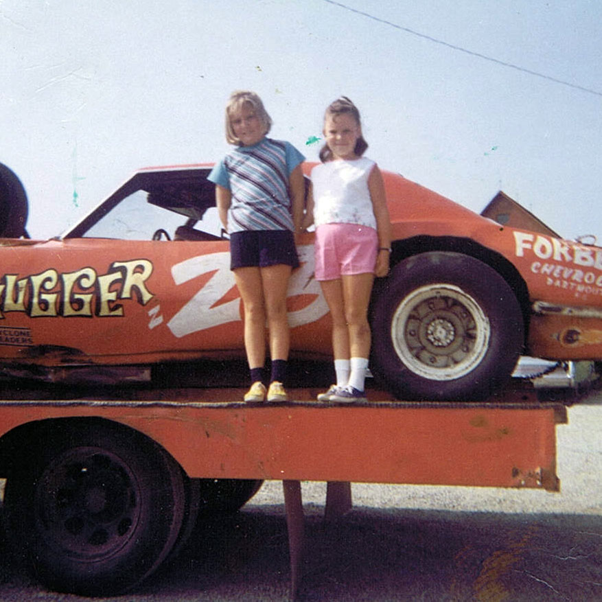 Happy Birthday to my OLDEST friend, Brenda Dunphy, formerly known as MASCAR's pit steward from hell...Shown here with Terry Clattenburg's 'Hugger' (1971)