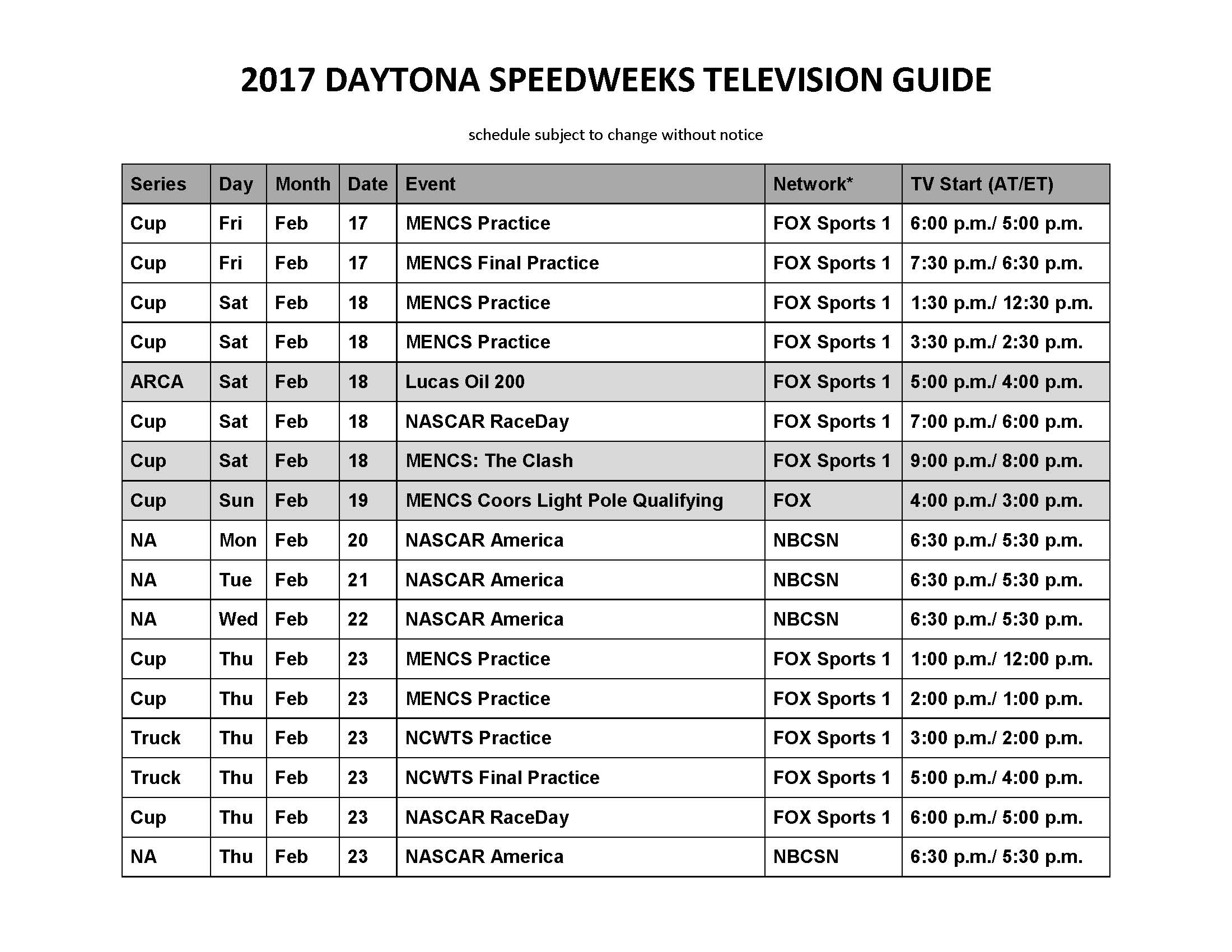 Arca Schedule 2017 >> It's Here – Our Annual Daytona Speedweeks TV Guide – CheckersToWreckers.com